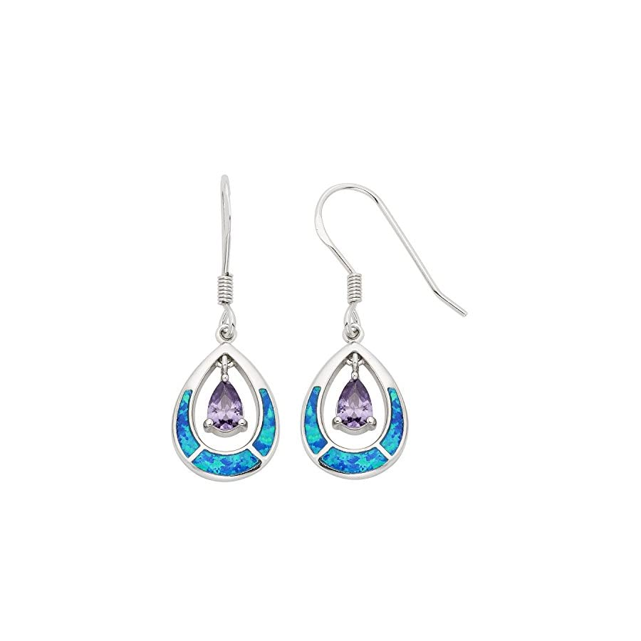"Sterling Silver Created Opal & CZ Teardrop Earrings and Pendant Set with 18"" Chain"