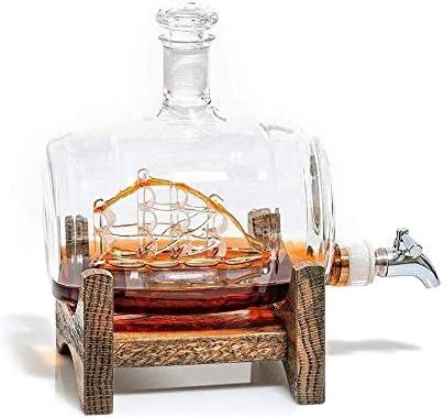 AOIWE Whiskey Glasses Set Whiskey Carafe Set Decanters Sailing Ship Steel Steel Spigot Bebidas Dispensador para Tequila Bourbon Scotch Rum Alcohol Related Gifts para papá
