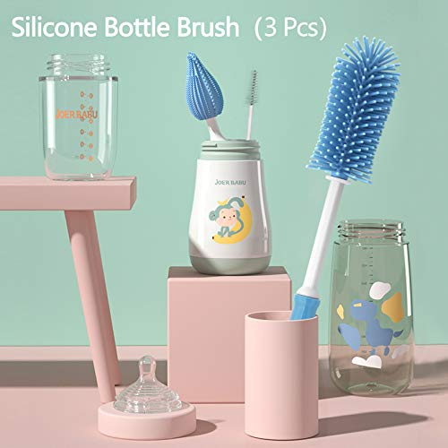 Beauty Nymph Silicone Bottle Brush 3 Pcs Cleaning Brushes Set for Cleaning Sports Water Bottles Mugs Bottle Straw