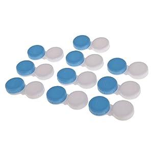 MagiDeal 10pcs Mini Contact Lens Case Travel Lenses Storage Soaking Cleaning Box Lense Holder Non-Transparent/Transparent - Blue,Non-Transparent, 5.5x2.7x1.3cm