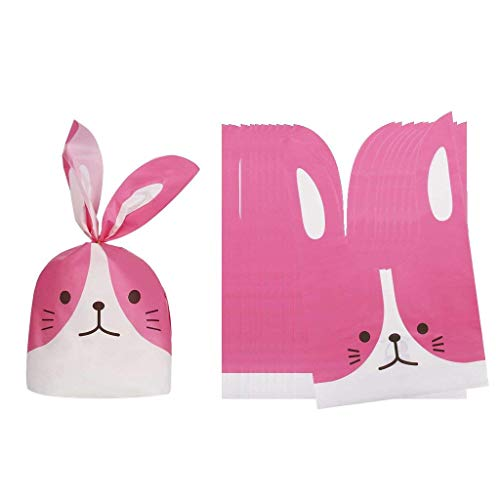 (50pcs Rabbit Candy Gift Bags Plastic Gift Bags for Easter Theme Party Cookie Bakery Candy Biscuit Storage Gift Bags - Pink, 13.5x22cm)