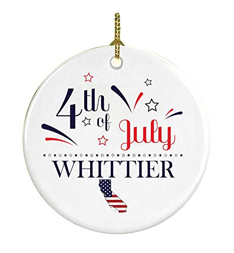 Patriotic Heart Ornament 4Th Of July Decorations For The Home Whittier California Independence Day Decorations Declaration of Independence America Pride Ceramic 3 inches White]()