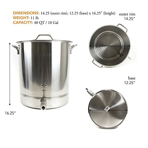 Gasone 10 Gallon Stainless Steel Home Brew Kettle Pot Pre Import