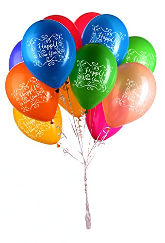 New Year Latex Balloon - Happy New Year Balloons - 12 Metallic Assorted Colors - Party Decoration - 40 Latex Balloons - With Fun Festive Print - Celebrate NYE Eve & 2017 With Friends & Family