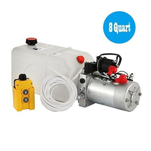 Happybuy Hydraulic Pump 12V DC Single Acting Hydraulic Power Unit 8 Quart Plastic Tank Hydraulic Pump Power Unit for Dump Trailer Car Lifting (8 Quart Single Acting Plastic) by Happybuy