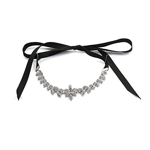 Teniu Fashion Flower Necklace Short Ribbon Necklace Belt Collar Choker Necklace Jewelry For Women Necklace Silver Plated