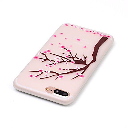Coque Etui iPhone 7 / 8 Plus , Leiai Fleur D'abricot Silicone Gel Case Avant et Arrière Intégral Full Protection Cover Transparent TPU Housse Anti-rayures pour Apple iPhone 7 / 8 Plus