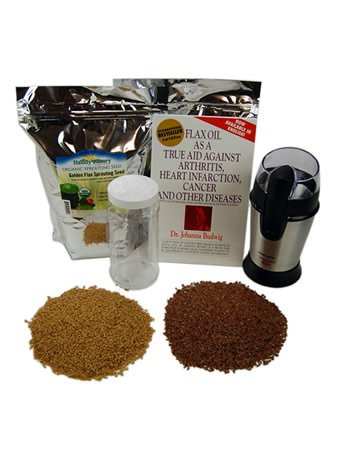 Organic Flax Seed Grinding Kit - Flaxseed Grinder, Brown & Golden Flax Seeds, Book & Instructions - Omega Oils, Fiber & Vegan Egg Substitute by Handy Pantry