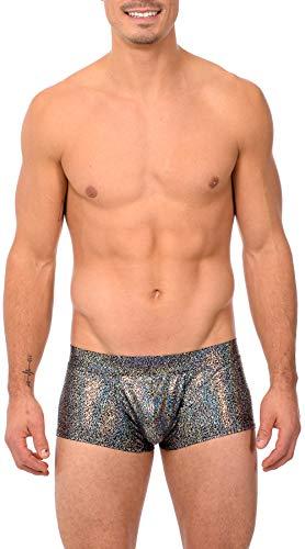(Gary Majdell Sport Mens Print Contour Pouch Bikini Swimsuit (Medium, MIN_BLK_SIL))