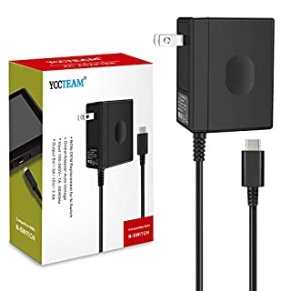 Charger for Switch and Switch Lite, YAEYE Fast Charging 15V/2.6A Portable Type C Wall Charger AC Adapter Replacement Accessories Support TV Mode and Pro Controller