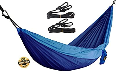 Ultralight Portable Soft Silk Parachute Breathable Travel Camping Hammock - super comfortable and easy to use - SWISS Premium Quality from GOLDEN EAGLE - Ropes Included - Great Gift Idea.