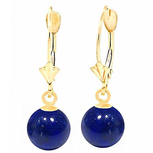 Trustmark 14K Yellow Gold 8mm Natural Lapis Lazuli Ball Leverback Earrings