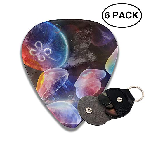 Colby Keats Guitar Picks Plectrums Jellyfish in Deep Blue Sea Classic Electric Celluloid Acoustic for Bass Mandolin Ukulele 6 Pack 3 Sizes .71mm ()
