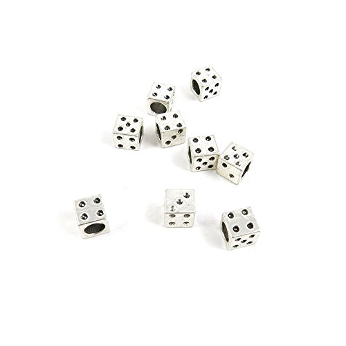 30 Pieces Antique Silver Tone Jewelry Making Charms W3PM8 Dice Loose Beads Pendant Ancient Findings Craft Supplies Bulk Lots ()