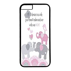 Iphone 6 case ,fashion durable black side design phone case, pc material phone cover ,with elephant art.