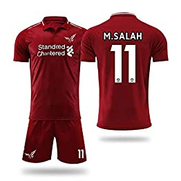 free-JJ Liverpool F.C.-Mohamed Salah 11 -Football Uniforme T-Shirt Ensembles de Sport Survêtement de Football Garçon