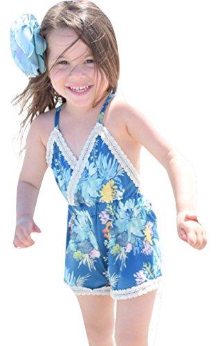Girls Romper Onesie - Boutique Kids Toddler & Newborn Baby Girl Clothes (2-3T, Navy)