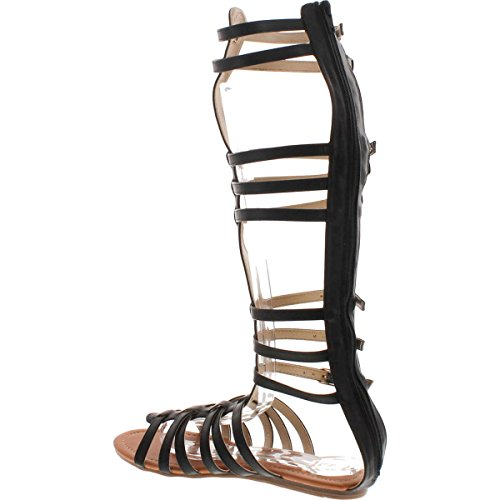 StyleUpGirl Monica-1 Knee High Gladiator Sandals Marcelino Black Brown Knee,Black,7
