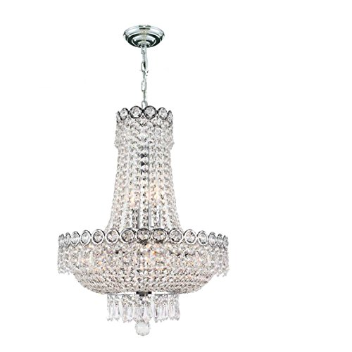 Worldwide Lighting W83049C16 8-Light Empire Chandelier with Clear Crystal 16 x 20 Chrome Finish