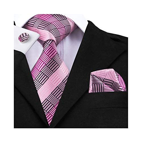 DiBanGu Silk Plaid Tie Handkerchief Pink Woven Tie Pocket Square Set for Men Wedding Business by DiBanGu