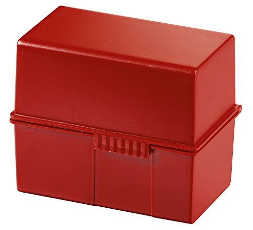 HAN 977-17 Card Index Box A7 Landscape Plastic for 300 Cards Red ()
