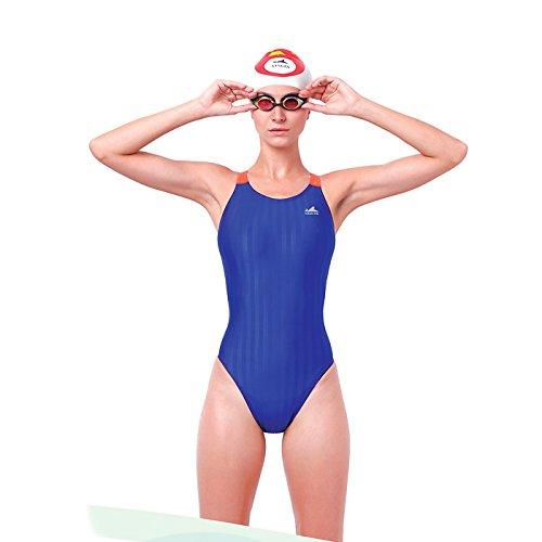 Yingfa YFW980 Women's Lightning Shark-Skin Competition Swimsuit - Blue/Orange M