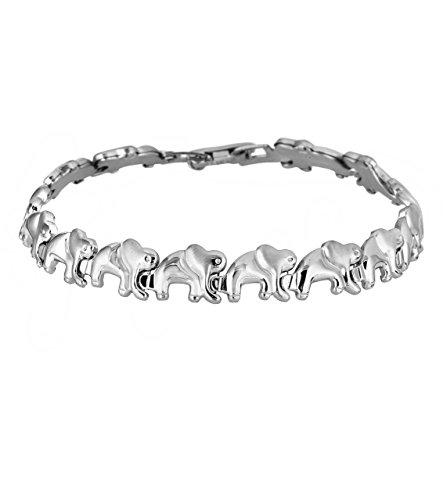 Silver Elephant Bracelet - silver stars Good Luck Elephant Bracelet, 8