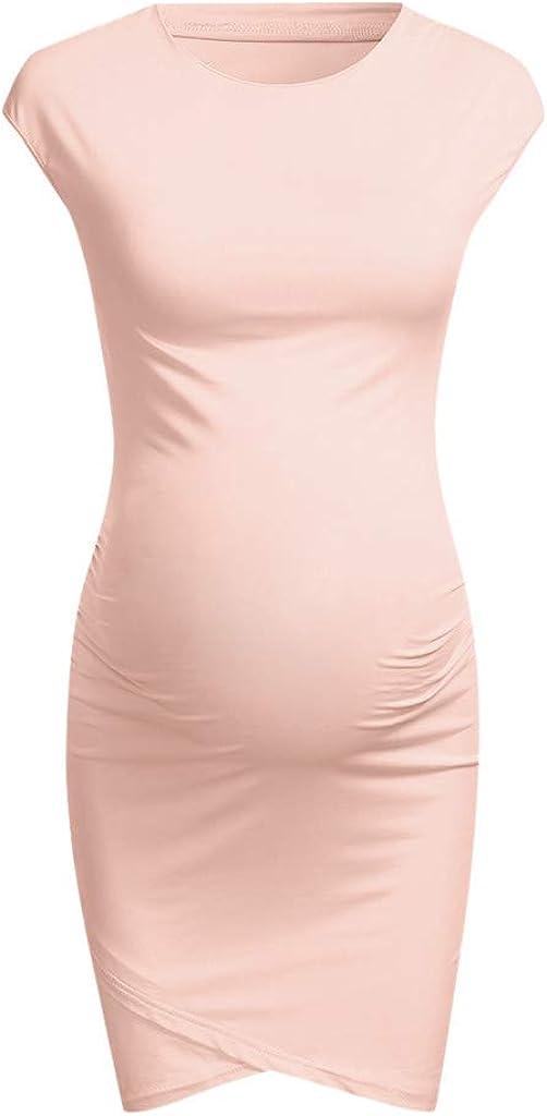 Zerototens Women Maternity Dress,Newest Womens Plain Short Sleeve Stretch Pregnancy Dress Bodycon Seamless Hips-Wrapped Dresses Irregular Casual Dress
