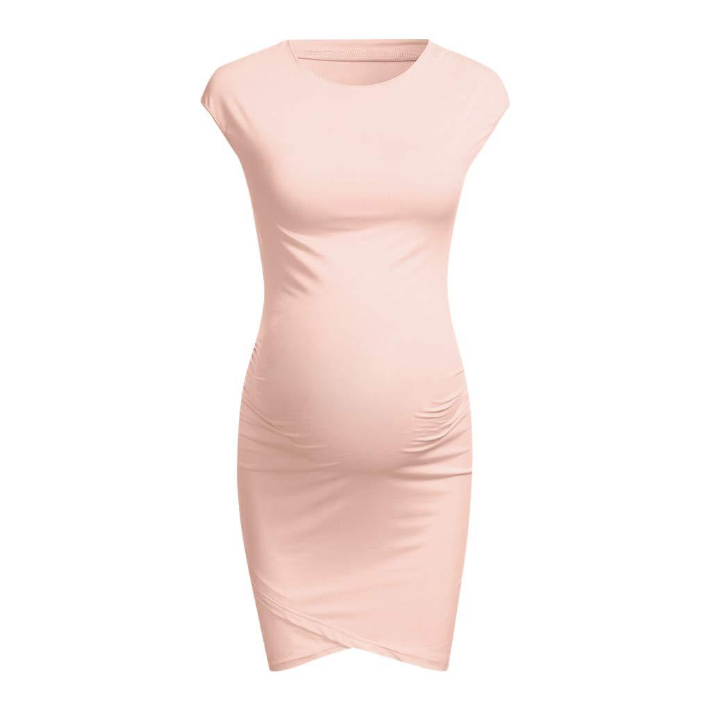 Short Sleeve Maternity Dress Pink, Women Fashion Solid Color Sleeveless Maternity Pregnat Comfortable Midi Dresse,Women's Belts,Black,M