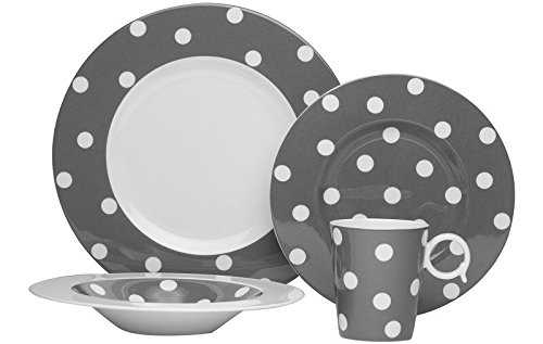 (Red Vanilla 4 piece Freshness Dots Place Setting Coupe Bowl,)