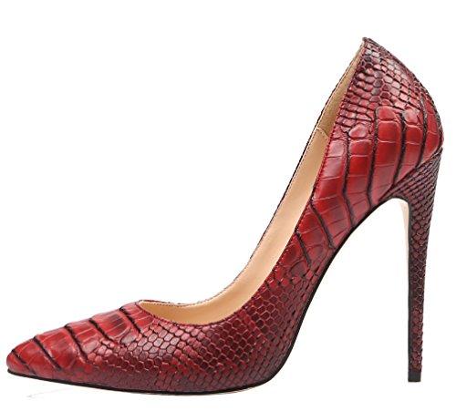 AOOAR Womens Snakeskin-Print High Heel Dress Pumps Shoes Scarlet Pu uGay2
