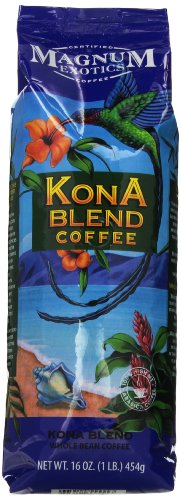 Magnum Exotics Kona Blend Coffee, Whole Bean, 16 Ounce