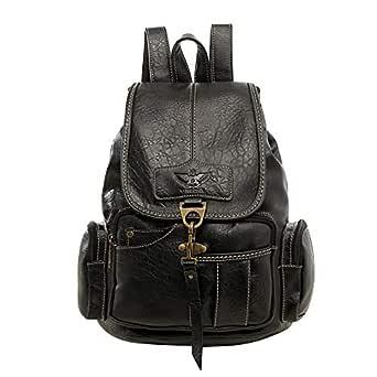 SPAHER Women Leather Backpack Fashion Daypack Shoulder Bag Vintage Style School Bags Anti-theft Satchel Teen Girls Travel Backpack Black