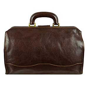 Time Resistance Leather Doctor Bag Hand-Crafted Vintage Style Medical Bag Small Dark Brown