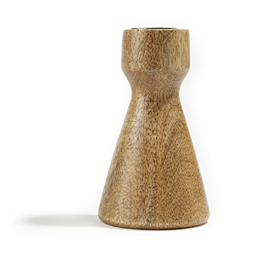 Taper Candle Holder Wood, Contemporary Hourglass Shape with Brass Details by LampLust (Image #2)