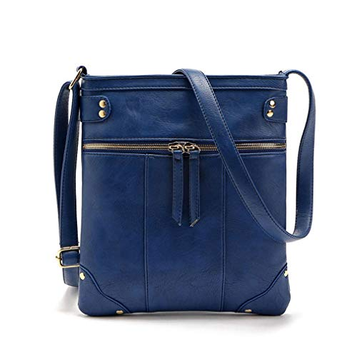 Bag Brown PU Mujeres Cremallera Bags Messenger Blue Shoulder Doble 23x23cm IqxSwI0pYB