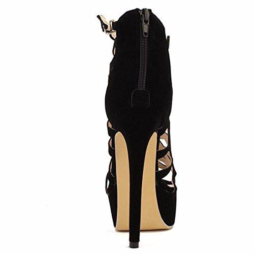 Glissiere Femmes Chaussures QIYUN Talons Aiguilles Sandales Fermeture Z Plate Creusent Noir De Hauts Les Nobles Forme D'Ete wxx6v