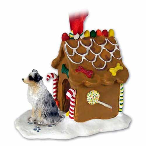 - Conversation Concepts Australian Shepherd Gingerbread House Christmas Ornament Blue Docked Tail - Delightful