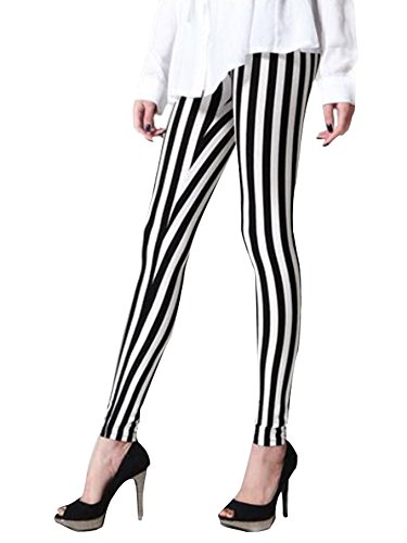 Halloween Leggings - Women's Stretchy Vertical Back & White Striped Ankle Length Legging Pants