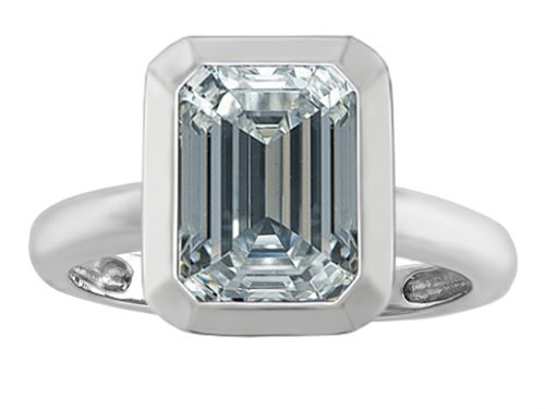 (Star K 9x7mm Emerald Cut Octagon Solitaire Ring with Genuine White Topaz Sterling Silver Size 7)