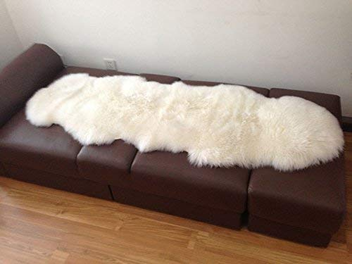 A-STAR Natural White Sheepskin Rug - 2 x 6 Double Genuine Sheep Skin Rug (Star White Natural)