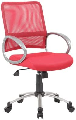 Boss Office Products Mesh Back Task Chair with Pewter Finish in Red