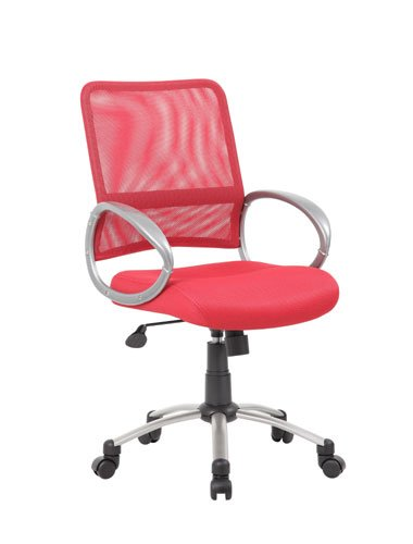 Boss Office Products B6416-RD Mesh Back Task Chair with Pewt