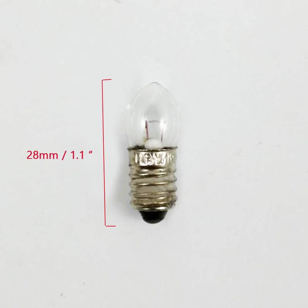 Bombilla de rosca en miniatura E10 de 6 V//12 V 6V 6W linterna de trabajo 4 unidades