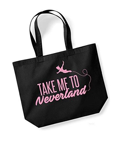 Neverland Take To Kelham Slogan Canvas Print Black Tote pink Cotton Me Bag Unisex wwBfq0v