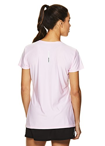 HEAD Women's High Jump Short Sleeve Workout T-Shirt - Performance V-Neck Activewear Top - Cherry Blossom Heather, X-Small by HEAD (Image #3)
