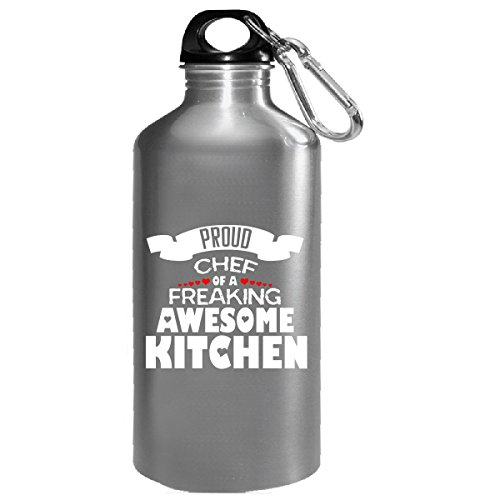 Proud Chef Of A Freaking Awesome Kitchen Typography Design - Water Bottle