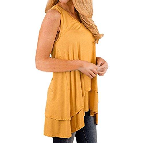 混乱した反毒三角形Honghu女性プラスサイズノースリーブ夏のトップス非対称ルーズTシャツ イエロー S