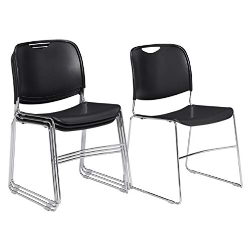 (4 Pack) National Public Seating 8500 Series Ultra-Compact Plastic Stack Chair, Black
