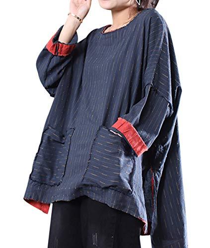 YESNO Women Casual Loose 3/4 Sleeve Linen Blouse Tops High-Low Hem Side Slit/Large Pockets WSC